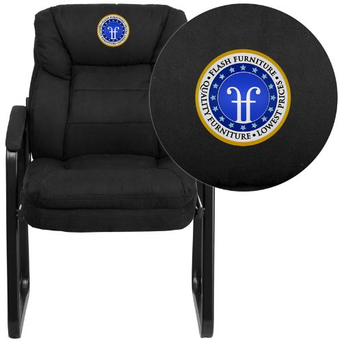 Flash Furniture Embroidered Black Microfiber Executive Side Reception Chair with Lumbar Support and Sled Base GO1156BKEMBGG ; Image 1 ; UPC 889142017349