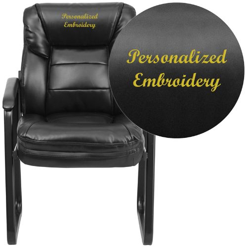 Flash Furniture Embroidered Black Leather Executive Side Reception Chair with Lumbar Support and Sled Base GO1156BKLEAEMBGG ; Image 1 ; UPC 889142017332