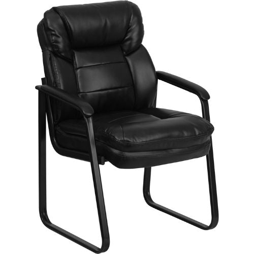 Flash Furniture Black Leather Executive Side Reception Chair with Lumbar Support and Sled Base GO1156BKLEAGG ; Image 1 ; UPC 847254021999
