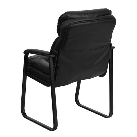 Flash Furniture Black Leather Executive Side Reception Chair with Lumbar Support and Sled Base GO1156BKLEAGG ; Image 3 ; UPC 847254021999
