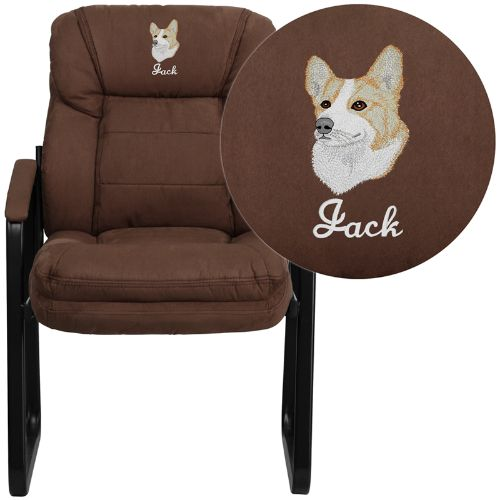 Flash Furniture Embroidered Brown Microfiber Executive Side Reception Chair with Lumbar Support and Sled Base GO1156BNEMBGG ; Image 1 ; UPC 889142017356