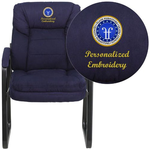 Embroidered Navy Microfiber Executive Side Chair with Sled Base; (UPC: 889142017363); Blue