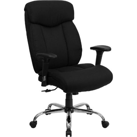 Flash Furniture HERCULES Series Big & Tall 400 lb. Rated Black Fabric Executive Ergonomic Office Chair with Full Headrest and Arms GO1235BKFABAGG ; Image 1 ; UPC 847254033121