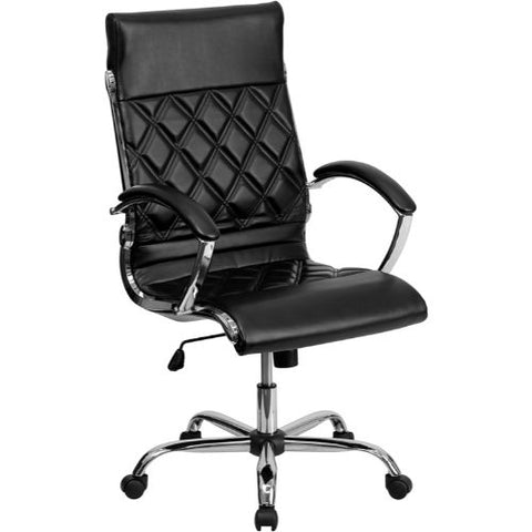 Flash Furniture High Back Designer Quilted Black Leather Executive Swivel Office Chair with Chrome Base and Arms GO1297HHIGHBKGG ; Image 1 ; UPC 812581018608