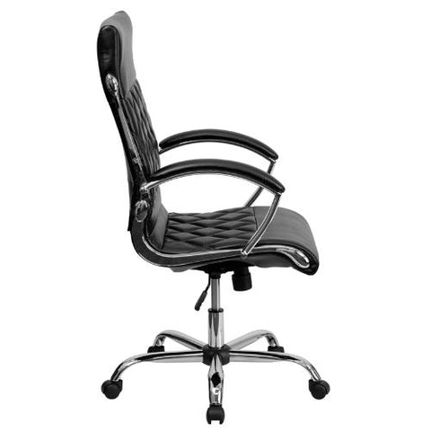 Flash Furniture High Back Designer Quilted Black Leather Executive Swivel Office Chair with Chrome Base and Arms GO1297HHIGHBKGG ; Image 2 ; UPC 812581018608