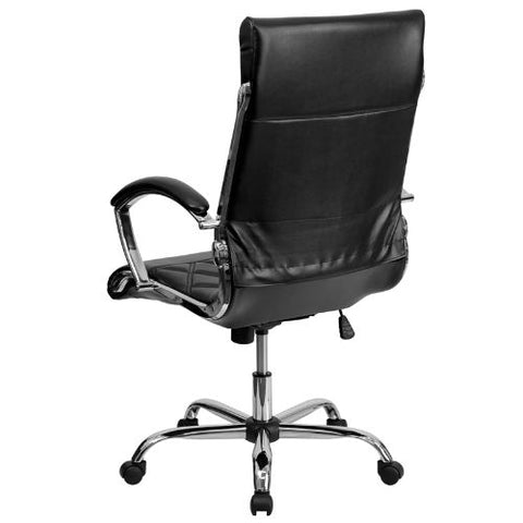 Flash Furniture High Back Designer Quilted Black Leather Executive Swivel Office Chair with Chrome Base and Arms GO1297HHIGHBKGG ; Image 3 ; UPC 812581018608