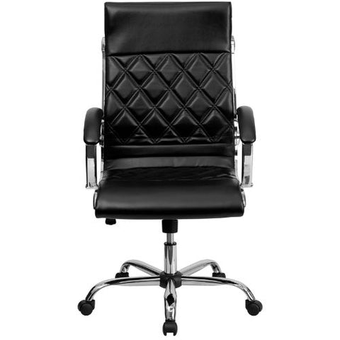Flash Furniture High Back Designer Quilted Black Leather Executive Swivel Office Chair with Chrome Base and Arms GO1297HHIGHBKGG ; Image 4 ; UPC 812581018608