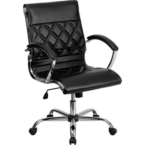 Flash Furniture Mid-Back Designer Black Leather Executive Swivel Office Chair with Chrome Base and Arms GO1297MMIDBKGG ; Image 1 ; UPC 847254004381