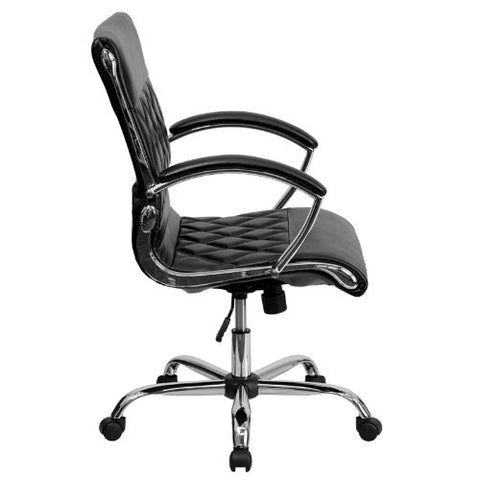Flash Furniture Mid-Back Designer Black Leather Executive Swivel Office Chair with Chrome Base and Arms GO1297MMIDBKGG ; Image 2 ; UPC 847254004381