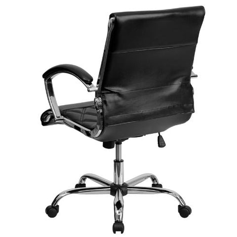 Flash Furniture Mid-Back Designer Black Leather Executive Swivel Office Chair with Chrome Base and Arms GO1297MMIDBKGG ; Image 3 ; UPC 847254004381