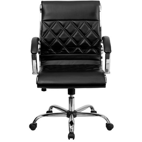 Flash Furniture Mid-Back Designer Black Leather Executive Swivel Office Chair with Chrome Base and Arms GO1297MMIDBKGG ; Image 4 ; UPC 847254004381