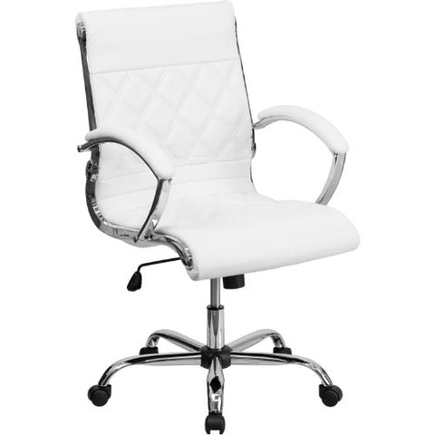 Flash Furniture Mid-Back Designer White Leather Executive Swivel Office Chair with Chrome Base and Arms GO1297MMIDWHITEGG ; Image 1 ; UPC 847254010924