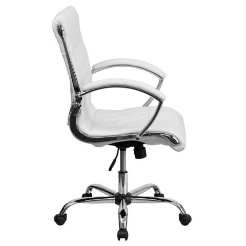 Flash Furniture Mid-Back Designer White Leather Executive Swivel Office Chair with Chrome Base and Arms GO1297MMIDWHITEGG ; Image 2 ; UPC 847254010924