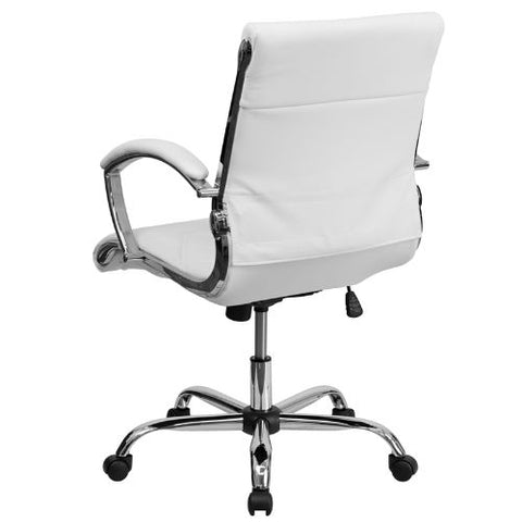 Flash Furniture Mid-Back Designer White Leather Executive Swivel Office Chair with Chrome Base and Arms GO1297MMIDWHITEGG ; Image 3 ; UPC 847254010924