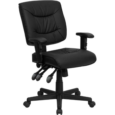 Flash Furniture Mid-Back Black Leather Multifunction Swivel Ergonomic Task Office Chair with Adjustable Arms GO1574BKAGG ; Image 1 ; UPC 812581016031