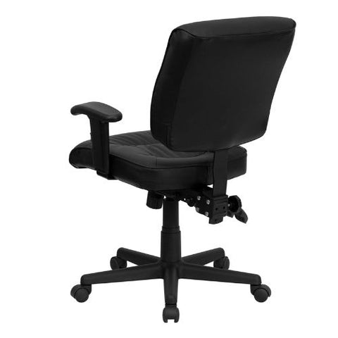Flash Furniture Mid-Back Black Leather Multifunction Swivel Ergonomic Task Office Chair with Adjustable Arms GO1574BKAGG ; Image 3 ; UPC 812581016031