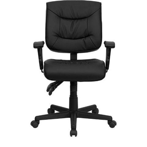 Flash Furniture Mid-Back Black Leather Multifunction Swivel Ergonomic Task Office Chair with Adjustable Arms GO1574BKAGG ; Image 4 ; UPC 812581016031