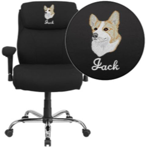 Flash Furniture Embroidered HERCULES Series Big & Tall 400 lb. Rated Black Fabric Ergonomic Office Chair with Line Stitching & Arms GO2031FEMBGG ; Image 1 ; UPC 889142004462