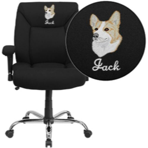 Flash Furniture Embroidered HERCULES Series Big & Tall 400 lb. Rated Black Fabric Deep Tufted Ergonomic Task Office Chair with Arms GO2073FEMBGG ; Image 1 ; UPC 889142004486