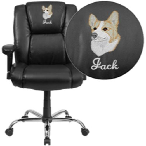 Embroidered HERCULES Series 400 lb. Capacity Big & Tall Black Leather Swivel Task Chair with Height Adjustable Arms; (UPC: 889142004516); Black