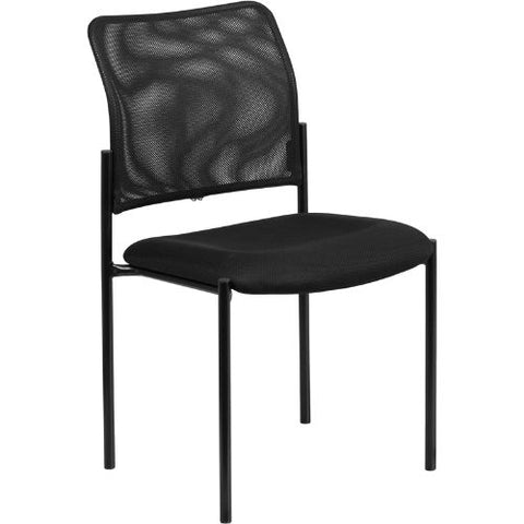 Black Mesh Comfortable Stackable Steel Side Chair FLAGO5152GG