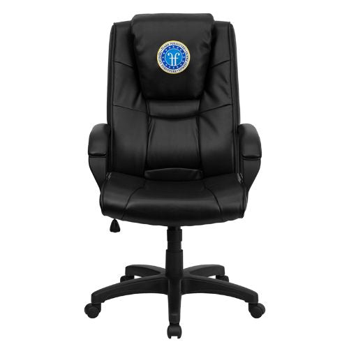 Flash Furniture Dreamweaver Personalized Black Leather Executive Swivel Office Chair with Arms GO5301BSPECBKLEAEMBGG ; Image 1 ; UPC 847254048873