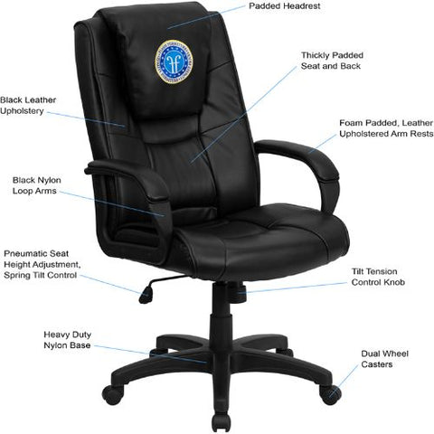 Flash Furniture Dreamweaver Personalized Black Leather Executive Swivel Office Chair with Arms GO5301BSPECBKLEAEMBGG ; Image 2 ; UPC 847254048873
