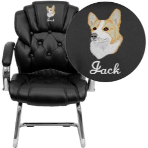 Embroidered Black Leather Transitional Side Chair with Padded Arms and Sled Base; (UPC: 847254051767); Black