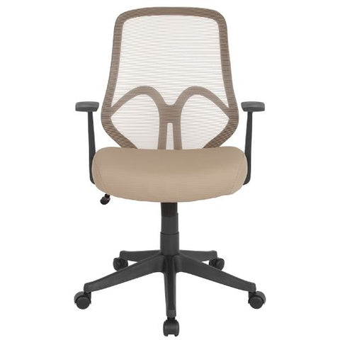 Flash Furniture Salerno Series High Back Light Brown Mesh Office Chair with Arms GOWY193AALTBNGG ; Image 4 ; UPC 889142499619