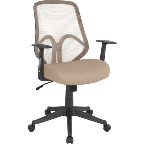 Flash Furniture Salerno Series High Back Light Brown Mesh Office Chair with Arms GOWY193AALTBNGG ; Image 1 ; UPC 889142499619