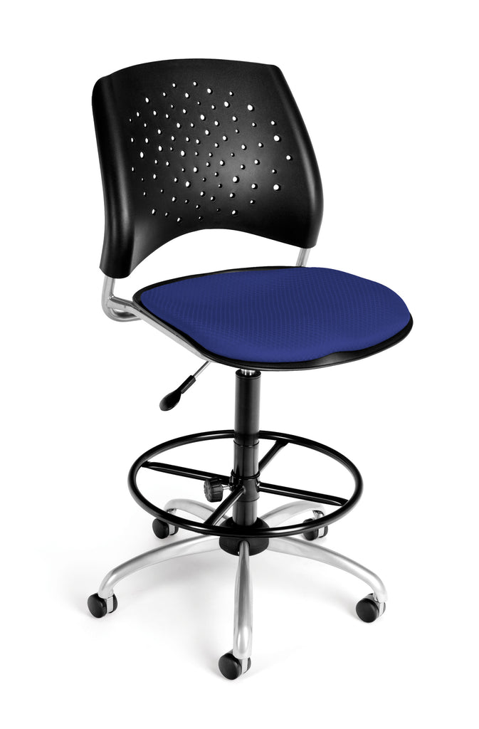 OFM Stars Series Model 326-DK Armless Fabric Swivel Task Chair and Drafting Kit, Royal Blue ; UPC: 845123013465 ; Image 1