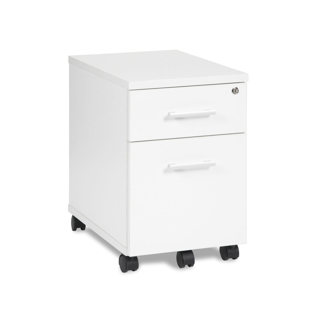 OFM Fulcrum Series Locking Pedestal, Mobile 2-Drawer Filing Cabinet, White (CL-MBF-WHT) ; UPC: 845123097519 ; Image 1