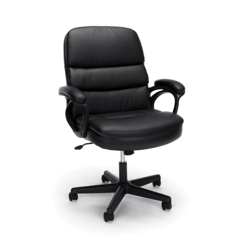 Essentials by OFM ESS-6025 Bonded Leather Executive Manager's Chair with Arms, Black ; UPC: 845123092958 ; Image 1