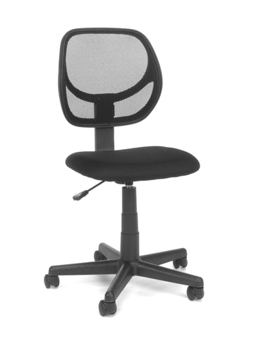 Essentials by OFM E1009 Armless Mesh Back and Fabric Task Chair, Black ; UPC: 845123032435 ; Image 1