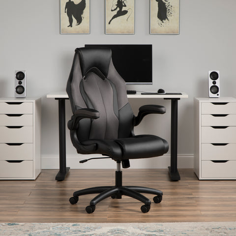 Essentials by OFM ESS-3086 High-Back Racing Style Bonded Leather Gaming Chair, Gray ; UPC: 192767001182 ; Image 12