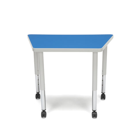 OFM Adapt Series Trapezoid Student Table - 20-28? Height Adjustable Desk with Casters, Blue (TRAP-SLC) ; UPC: 845123096383 ; Image 3