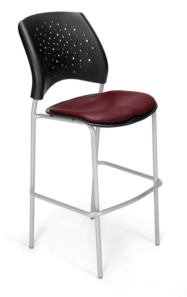 OFM 328S-VAM-603 Stars Cafe Height Vinyl Silver Chair, Wine ; UPC: 845123012871 ; Image 1
