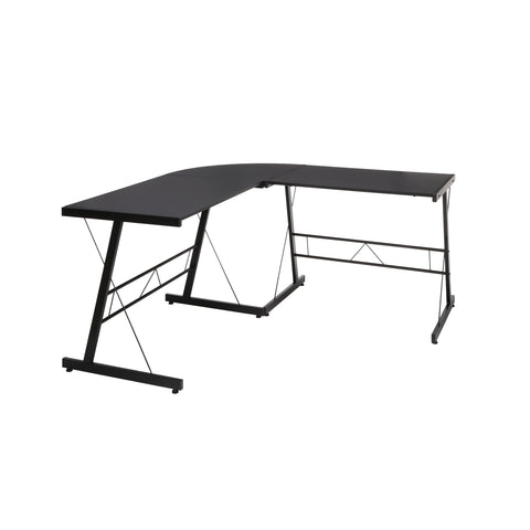 "OFM Essentials Collection 60"" Metal Frame L-Shaped Desk, Corner Computer Desk, in Black (ESS-1021 -BLK-BLK) ; UPC: 192767000079 ; Image 1"