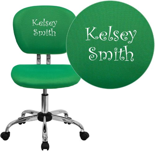 Flash Furniture Embroidered Mid-Back Bright Green Mesh Padded Swivel Task Office Chair with Chrome Base H2376FBRGRNEMBGG ; Image 1 ; UPC 847254033749