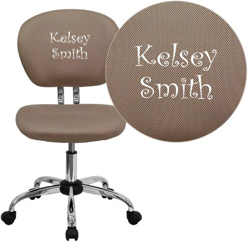 Embroidered Mid-Back Coffee Brown Mesh Swivel Task Chair with Chrome Base; (UPC: 847254033848); Brown