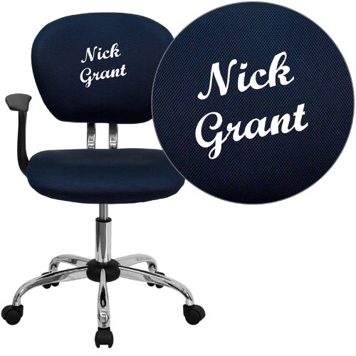 Embroidered Mid-Back Navy Mesh Swivel Task Chair with Chrome Base and Arms; (UPC: 847254033732); Blue