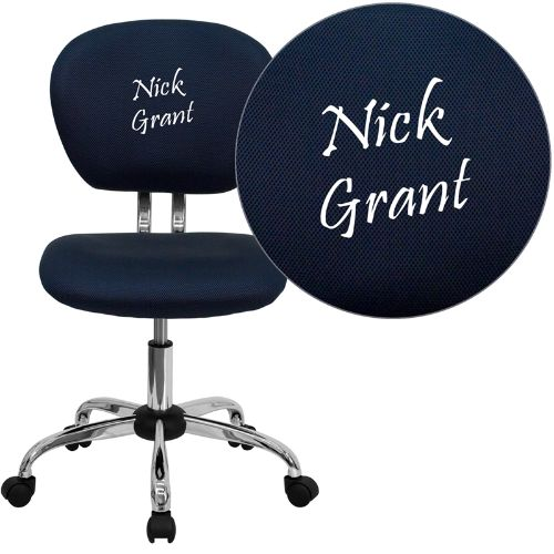 Embroidered Mid-Back Navy Mesh Swivel Task Chair with Chrome Base; (UPC: 847254033725); Blue