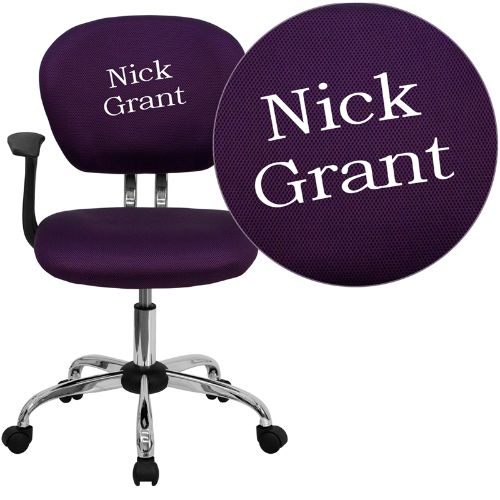 Embroidered Mid-Back Purple Mesh Swivel Task Chair with Chrome Base and Arms; (UPC: 847254033657); Purple