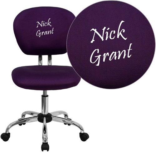 Embroidered Mid-Back Purple Mesh Swivel Task Chair with Chrome Base; (UPC: 847254033640); Purple
