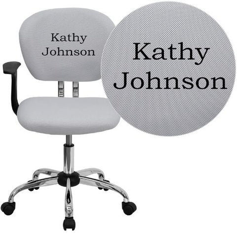 Embroidered Mid-Back White Mesh Swivel Task Chair with Chrome Base and Arms; (UPC: 847254033770); White