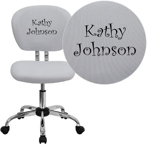 Embroidered Mid-Back White Mesh Swivel Task Chair with Chrome Base; (UPC: 847254033763); White