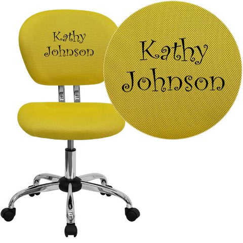 Embroidered Mid-Back Yellow Mesh Swivel Task Chair with Chrome Base; (UPC: 847254033664); Yellow