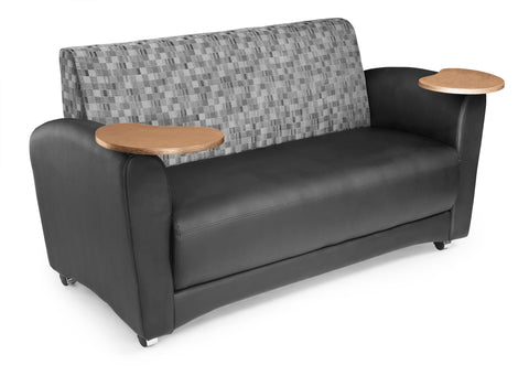 OFM InterPlay Series Model 822 Double Tablet Sofa, Black Seat with Nickel Back and Bronze Tablet ; UPC: 845123031209 ; Image 1