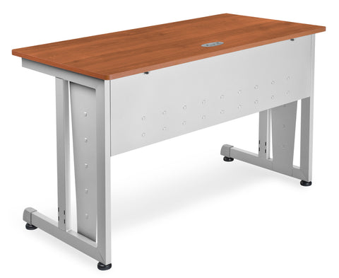 "OFM Model 55103 24"" x 48"" Modular Computer and Training Table, Cherry with Silver Frame ; UPC: 811588017829 ; Image 1"