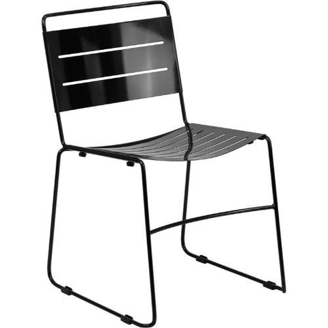 HERCULES Series Black Indoor-Outdoor Metal Stack Chair; (UPC: 889142014485); Black